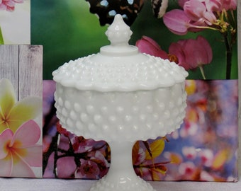 Vintage Fenton Hobnail Milk Glass Compote Wedding Dish With Lid in Mint Condition