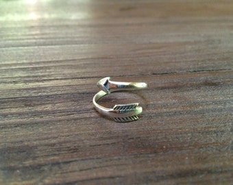 Boho style sterling silver arrow wrap ring