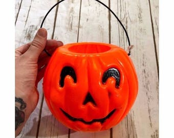 Vintage Jack O Lantern Trick or Treat Pail, Vintage Pumpkin, Vintage Halloween Decor, 80s Halloween, 90s Halloween, Vintage Pumpkin Decor