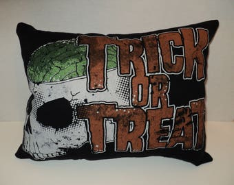 Sale!!! TRICK OR TREAT pillow/ Halloween pillow/ travel pillow/ handmade/ skull
