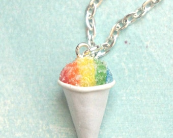 snow cone necklace- miniature food jewelry, shaved ice necklace
