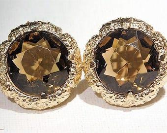 Rhinestone Clip On Earrings / Mid Century