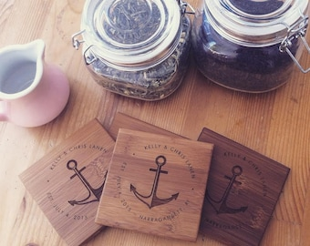Engraved Coasters, Custom Coasters, Personalized Gift, Housewarming Gift, Anchor, Engagement Gift, Bridal Shower Gift, Wood Coasters, Bamboo