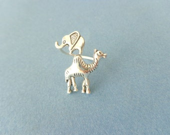 silver camel elephant ring wrap style, adjustable ring, animal ring, silver ring, statement ring