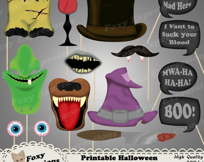 DIY Printable Halloween Photo Booth Props. Comes with Witch hat, wart face, werewolf fangs, crazy eyes, top hat, knife, word bubbles, & more