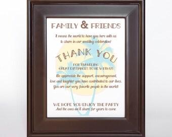 Palm Trees Thank You Sign Printable Destination Wedding DIY Digital File PDF Aqua 4x6 5x7 8x10Travel Beach