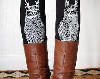 Wild Catalope Legging, womens plus legging, cat with antlers, cat leggings, christmas cat, womens plus gifts, XXL 16-20, usa made, Simka Sol