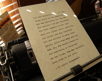 "F. Scott Fitzgerald Quote, ""She Was Beautiful Deep Down to Her Soul."" Hand-typed on Vintage Typewriter"