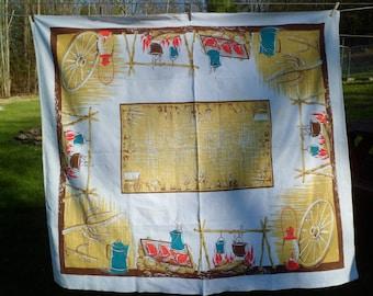 "Vintage California Hand Prints Cowboy Western Tablecloth~64 x 56""~Chuck Wagon Cactus Horses~Sewn-in Tag"
