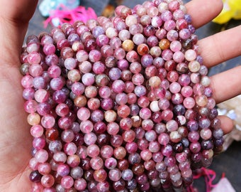 pink tourmaline, round beads, pink beads, natural gemstones, 5-6mm beads, 5mm beads, 6mm beads,  natural gemstones,