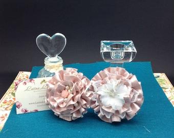 Pink Shimmer Ribbon flower pair