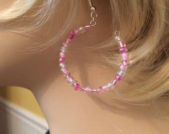 pink beaded hoop earrings