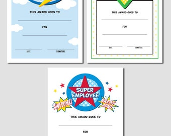 Set of 3 Super Employee Award Printables