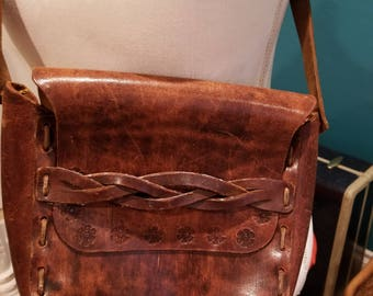 70s Crossbody Tooled Leather Stitched Bag