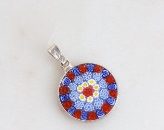 Vintage AMV Art Glass Pendant - Millefiori Glass Multi Color Floral Sterling Pendant
