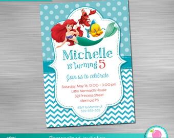 Little Mermaid Invitation, Little Mermaid Birthday, Little Mermaid Party,  Little Mermaid Printable Invitation DIY