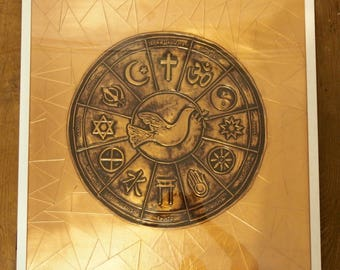 Embossed copper peace painting