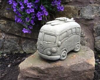 Cool stone VW campervan hippie Volkswagen with surfboard