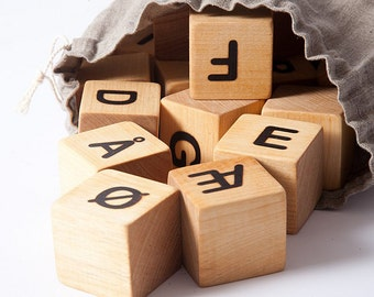 Norwegian or Danish Alphabet blocks, blocks with letters, wooden building blocks, eco fiendly toy