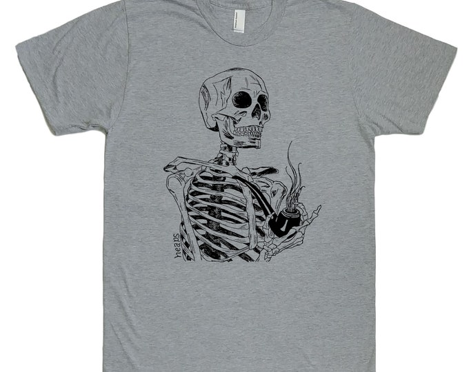Pipe Smoking Shirt - Pipe Smoker Gift - Smoking Tshirt - Smoker Gift - Pipe Shirt - Skeleton Shirt - Mens Tshirt - Funny Retro Tshirt