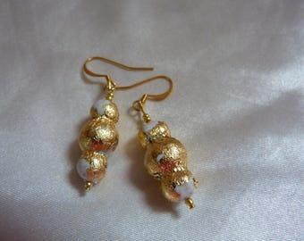 White porcelain gilded in gold leaf earrings