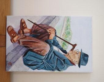 Old man sitting - Original painting
