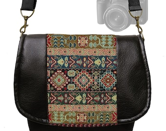 Dslr Camera Bag Slr Camera Messenger Bag  Vegan Black Leather Colorful Kilim Tapestry  Zipper Padded Deluxe Model MTO