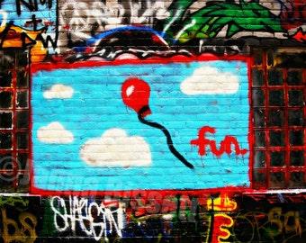 Fun Balloon Graffiti Art  Fine Art Urban Photograph on Metallic Paper