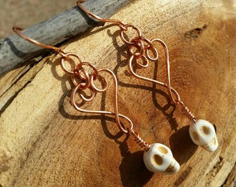 Copper Swirl Heart Earrings with Carved Bone Skull