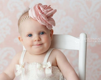 Flower Headband, Newborn Photography Prop, Beautiful Newborn Pale Pink Satin Flower on Sretchy Chevron Elastic, 3 mo, Sitter to Toddler Size