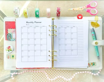 A5 MONTHLY PLANNER A5 Planner Inserts Filofax A5 Inserts 5.83 x 8.27 Printable pdf MO2P Month On Two Pages Calendar Instant Download