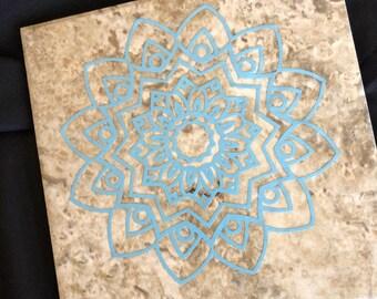 6x6 Decorative Faux Slate Tile With Blue Mandala
