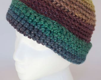 Womens Winter Wool Hat- Hand spun and hand dyed yarn