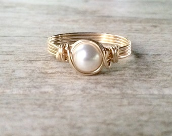 Pearl Ring, Gold Wire Wrapped Ring, 14k Gold Filled Ring, Gold Pearl Ring, June Birthstone Ring, Bridmsmaid Gift, Gift for her