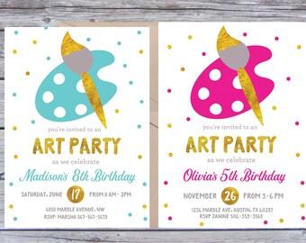 Art Birthday Party Invitations, Art Birthday Invitation, Art Birthday Invitations, Art Birthday Invitation, Painting Party, Paint Invitation