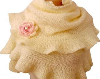 Cream Ruffle Scarf Shawl Hand Knit, Frilled, Ruffled Shawl with Crochet Flower, Bridal Wrap, Bridesmaid,Express Cargo