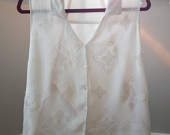 Vintage New Look White Embroidered Summer Blouse - 1990s - UK women's size 16