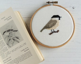 cross stitch bird willow tit design, small cross stitch pattern, small bird cross stitch pattern, bird embroidery design