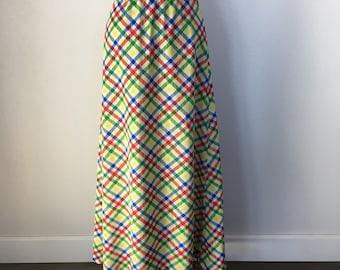 Vintage Handmade Blue, Green, Red & Yellow Maxi Crosshatch Skirt Size S c.1970