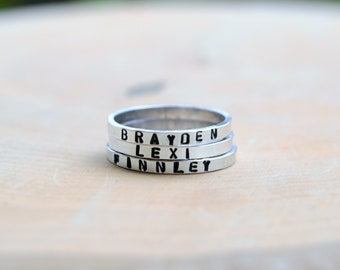 SALE** Skinny personalized band ring - sterling band - personalized ring - name ring - stacking ring - think band - Mother's Day
