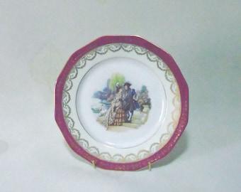 Limoges ornamental plate -courting couple- Bone china/La Reine/Vintage