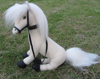 White horse, handmade, author's toy, OOAK, mohair, teddy bear friend, jointed, stuffed plush animals, collectable unique toy