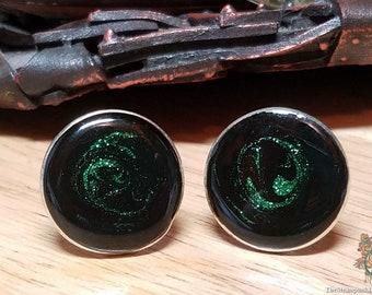 Black and Emerald Green Cufflinks