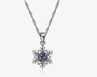 Frozen Necklace, Star Snowflake Ice, Crystal Topaz Diamond Pendant,Snow Queen
