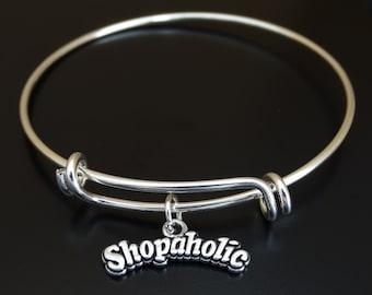 Shopaholic Bangle Bracelet, Adjustable Expandable Bangle Bracelet, Shopaholic Charm, Shopaholic Pendant, Shopaholic Jewelry, Shopping Bangle