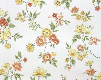 1950s Vintage Wallpaper by the Yard - Floral Wallpaper with Yellow and Orange Flowers White