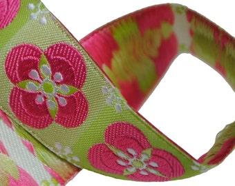 "Pink on Green Floral Tiles 7/8"" (22mm)"
