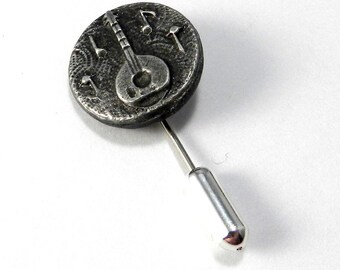 Vintage Hat Pin / Lapel Pin - Mandolin Banjo Pewter Button - Vintage Musical Instrument Stickpin Brooch by Compass Rose Design