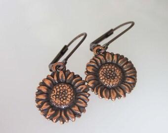 Antiqued Copper Sunflower Earrings, Flower Jewelry, Flower Earrings, Small Leverback Earrings, Metal Earrings, Copper Flower