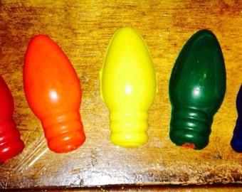 Christmas light bulb crayons set of five